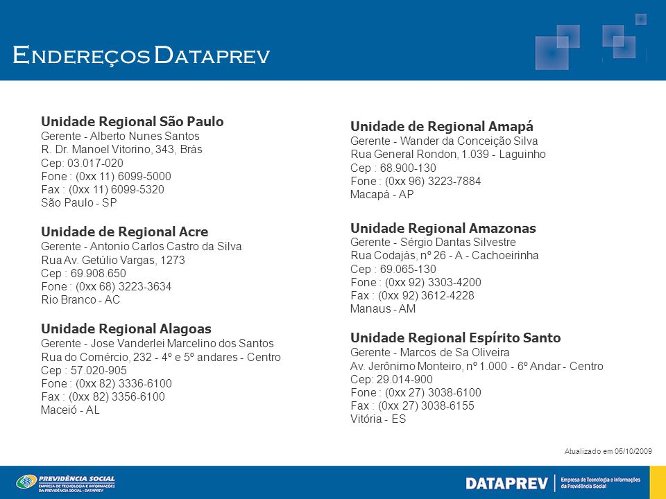 E ndereços D ataprev Unidade Regional São Paulo Gerente - Alberto Nunes Santos R. Dr. Manoel Vitorino, 343, Brás Cep: 03.017-020 Fone : (0xx 11) 6099-