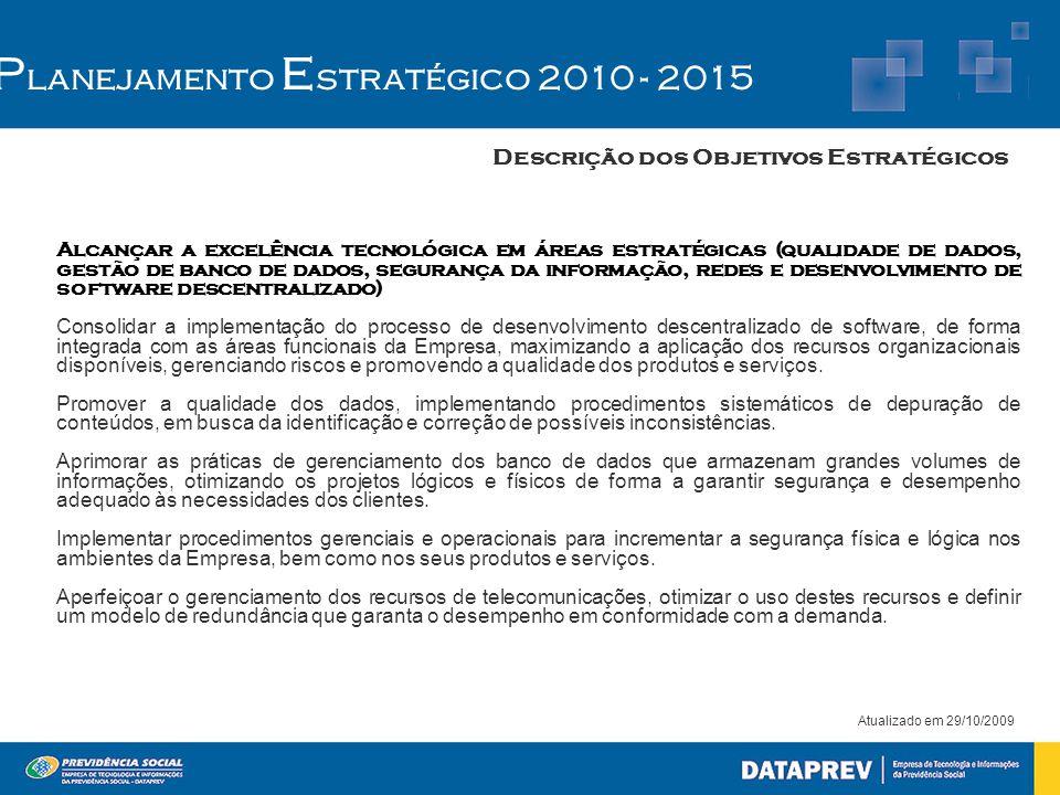 Atualizado em 29/10/2009 P lanejamento E stratégico 2010 - 2015 Descrição dos Objetivos Estratégicos Alcançar a excelência tecnológica em áreas estrat