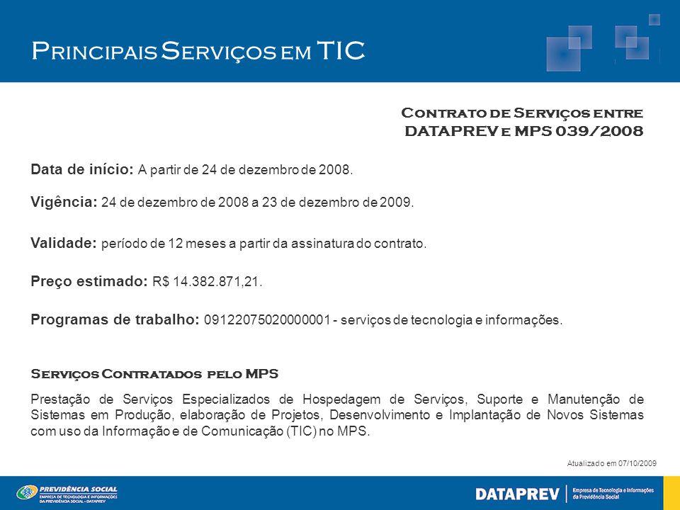 P rincipais S erviços em TIC Atualizado em 07/10/2009 Data de início: A partir de 24 de dezembro de 2008.