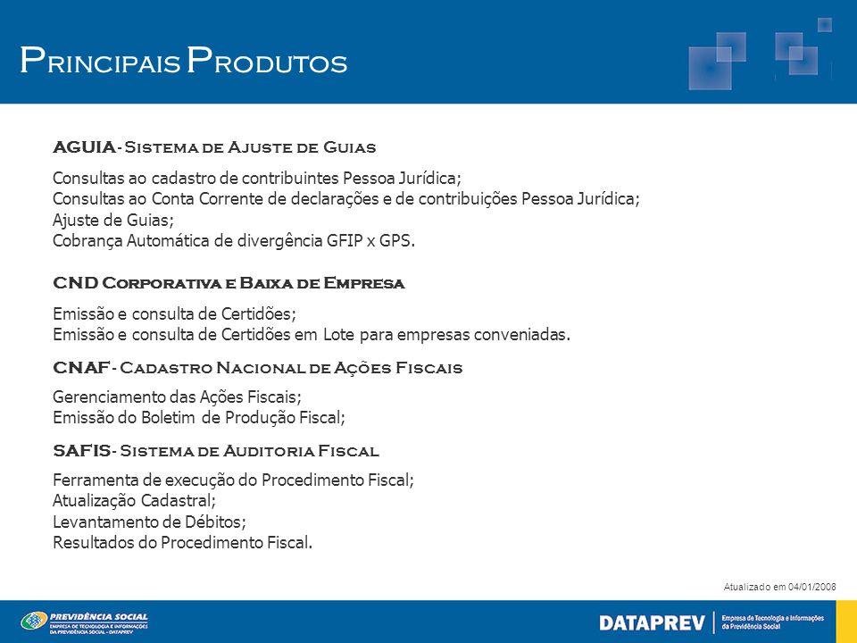 P rincipais P rodutos AGUIA - Sistema de Ajuste de Guias Consultas ao cadastro de contribuintes Pessoa Jurídica; Consultas ao Conta Corrente de declarações e de contribuições Pessoa Jurídica; Ajuste de Guias; Cobrança Automática de divergência GFIP x GPS.