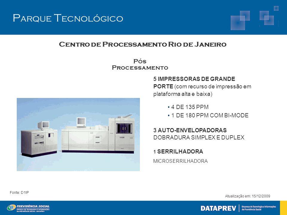 5 IMPRESSORAS DE GRANDE PORTE (com recurso de impressão em plataforma alta e baixa) • 4 DE 135 PPM • 1 DE 180 PPM COM BI-MODE 3 AUTO-ENVELOPADORAS DOBRADURA SIMPLEX E DUPLEX 1 SERRILHADORA MICROSERRILHADORA Pós Processamento Atualização em: 15/12/2009 Centro de Processamento Rio de Janeiro Fonte: D1IP P arque T ecnológico