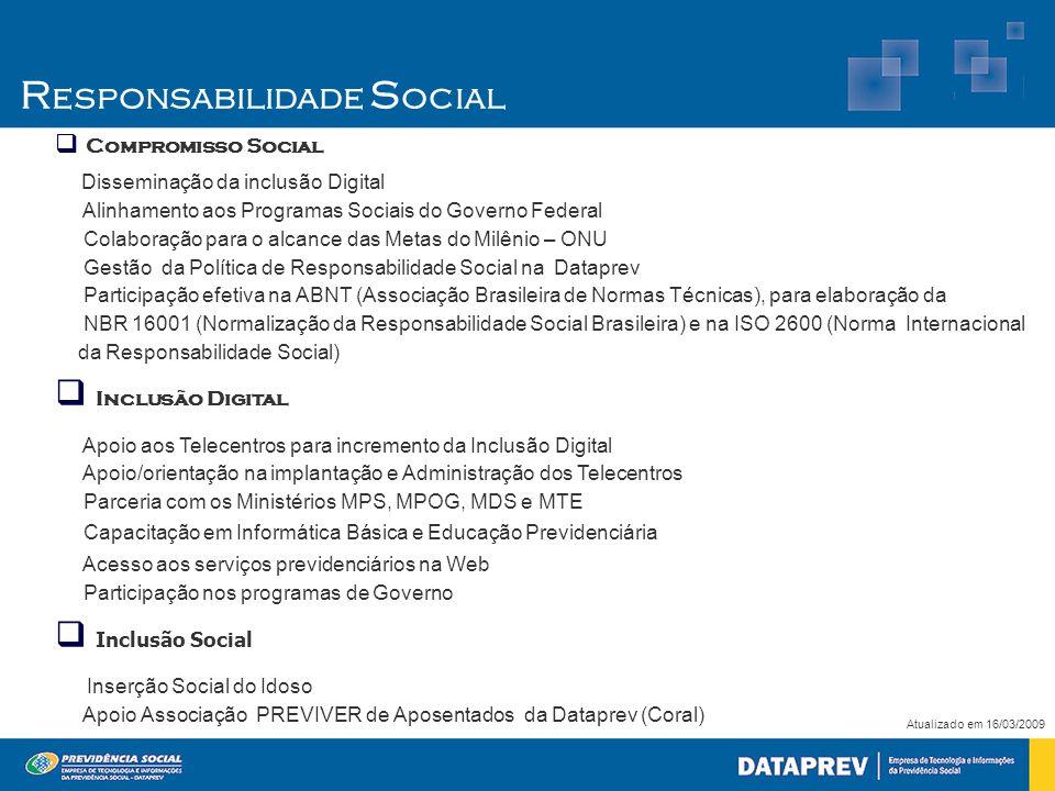  Compromisso Social Disseminação da inclusão Digital Alinhamento aos Programas Sociais do Governo Federal Colaboração para o alcance das Metas do Milênio – ONU Gestão da Política de Responsabilidade Social na Dataprev Participação efetiva na ABNT (Associação Brasileira de Normas Técnicas), para elaboração da NBR 16001 (Normalização da Responsabilidade Social Brasileira) e na ISO 2600 (Norma Internacional da Responsabilidade Social)  Inclusão Digital Apoio aos Telecentros para incremento da Inclusão Digital Apoio/orientação na implantação e Administração dos Telecentros Parceria com os Ministérios MPS, MPOG, MDS e MTE Capacitação em Informática Básica e Educação Previdenciária Acesso aos serviços previdenciários na Web Participação nos programas de Governo  Inclusão Social Inserção Social do Idoso Apoio Associação PREVIVER de Aposentados da Dataprev (Coral) Atualizado em 16/03/2009 R esponsabilidade S ocial