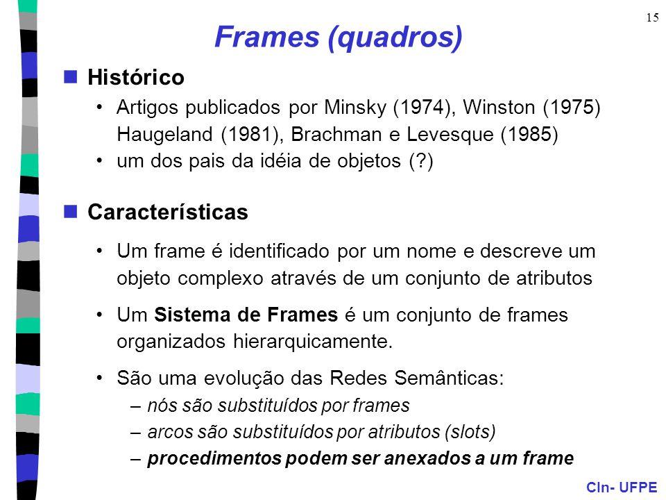 CIn- UFPE 15 Frames (quadros)  Histórico •Artigos publicados por Minsky (1974), Winston (1975) Haugeland (1981), Brachman e Levesque (1985) •um dos pais da idéia de objetos (?)  Características •Um frame é identificado por um nome e descreve um objeto complexo através de um conjunto de atributos •Um Sistema de Frames é um conjunto de frames organizados hierarquicamente.