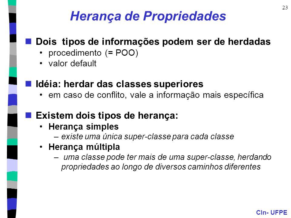 CIn- UFPE 23 Herança de Propriedades  Dois tipos de informações podem ser de herdadas •procedimento (= POO) •valor default  Idéia: herdar das classe