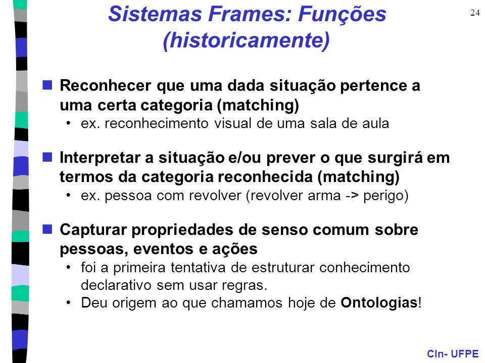 CIn- UFPE 24 Sistemas Frames: Funções (historicamente)  Reconhecer que uma dada situação pertence a uma certa categoria (matching) •ex.