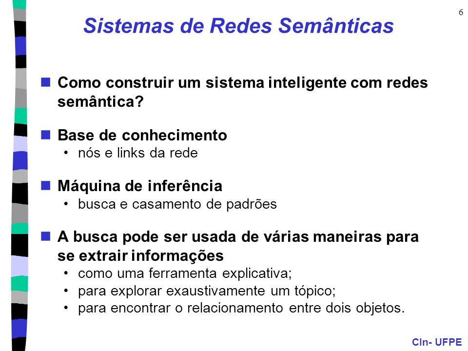 CIn- UFPE 6 Sistemas de Redes Semânticas  Como construir um sistema inteligente com redes semântica?  Base de conhecimento •nós e links da rede  Má