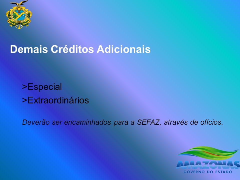 Demais Créditos Adicionais >Especial >Extraordinários Deverão ser encaminhados para a SEFAZ, através de ofícios.
