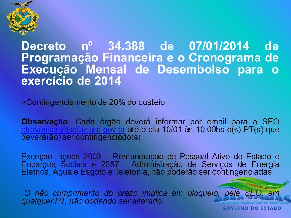 Decreto nº 34.388 de 07/01/2014 de Programação Financeira e o Cronograma de Execução Mensal de Desembolso para o exercício de 2014 >Contingenciamento de 20% do custeio.