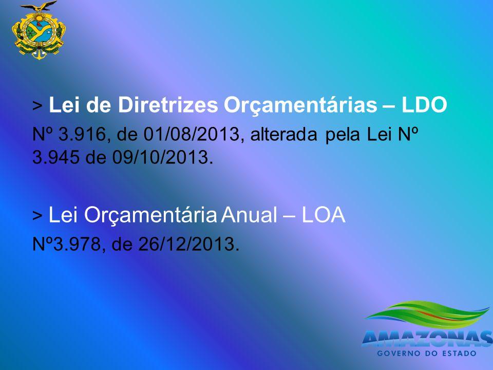 > Lei de Diretrizes Orçamentárias – LDO Nº 3.916, de 01/08/2013, alterada pela Lei Nº 3.945 de 09/10/2013.