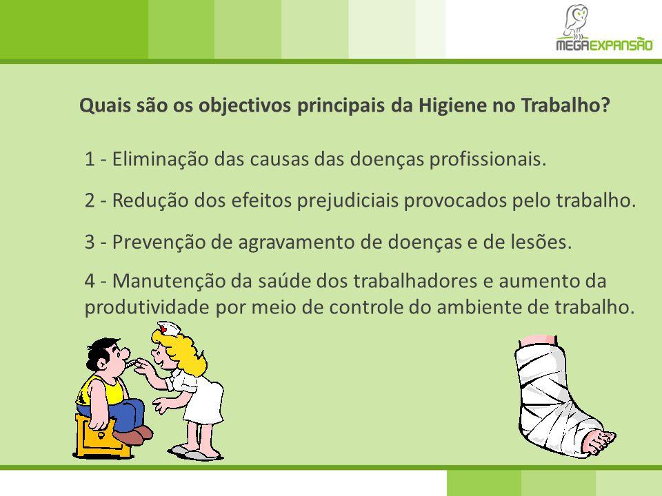 4 - Manutenção da saúde dos trabalhadores e aumento da produtividade por meio de controle do ambiente de trabalho. Quais são os objectivos principais