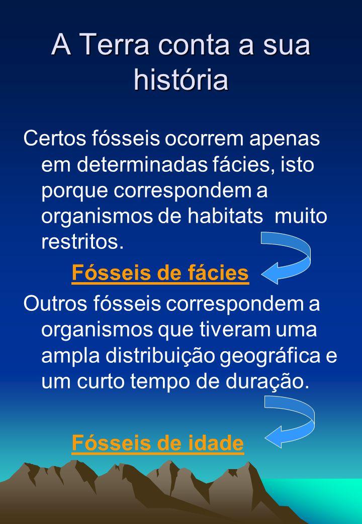 Certos fósseis ocorrem apenas em determinadas fácies, isto porque correspondem a organismos de habitats muito restritos. Fósseis de fácies Outros fóss