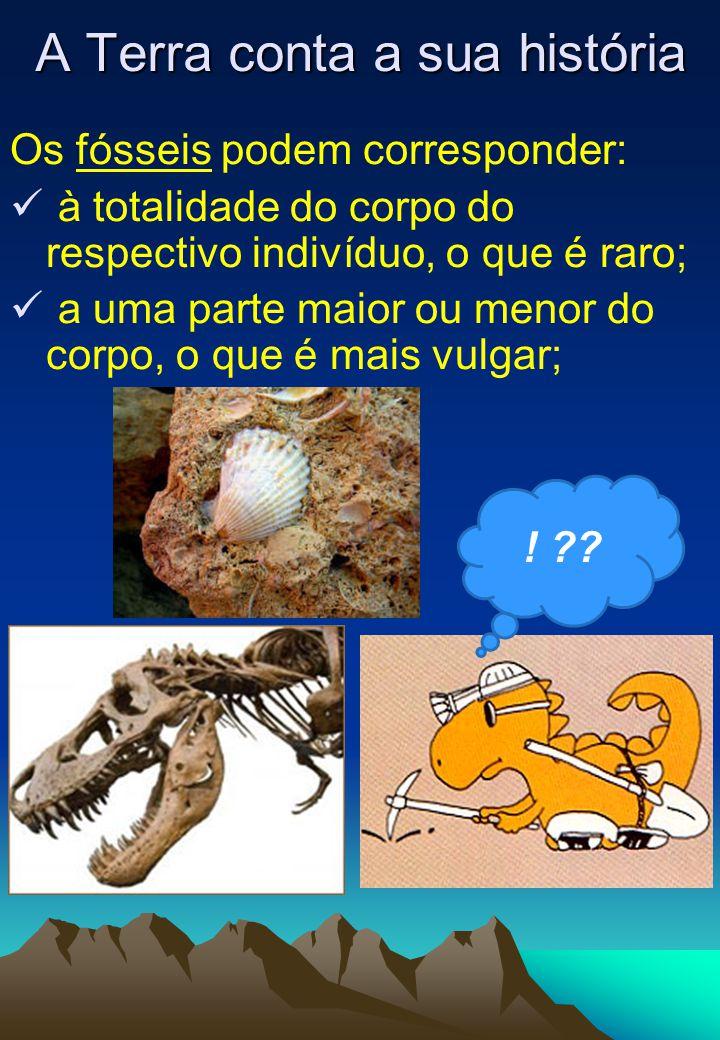 Os fósseis podem corresponder:  à totalidade do corpo do respectivo indivíduo, o que é raro;  a uma parte maior ou menor do corpo, o que é mais vulgar; A Terra conta a sua história .