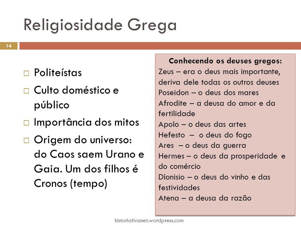 Religiosidade Grega  Politeístas  Culto doméstico e público  Importância dos mitos  Origem do universo: do Caos saem Urano e Gaia. Um dos filhos é