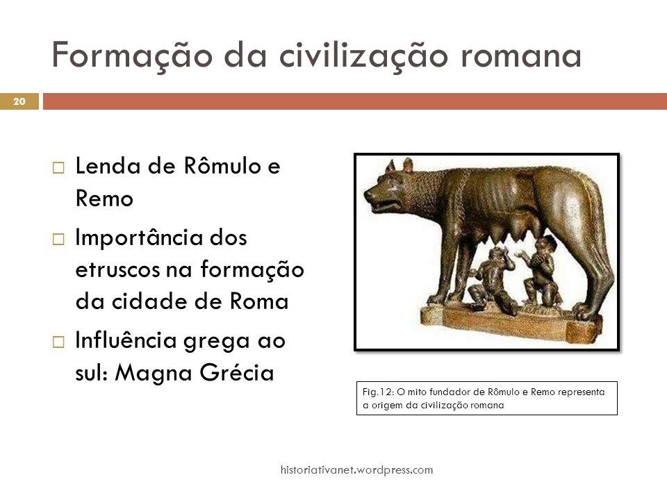 Formação da civilização romana  Lenda de Rômulo e Remo  Importância dos etruscos na formação da cidade de Roma  Influência grega ao sul: Magna Gréc