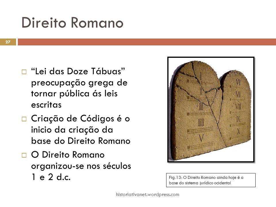 """Direito Romano  """"Lei das Doze Tábuas"""" preocupação grega de tornar pública ás leis escritas  Criação de Códigos é o inicio da criação da base do Dire"""