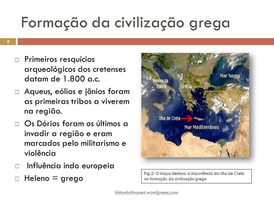 Formação da civilização grega  Primeiros resquícios arqueológicos dos cretenses datam de 1.800 a.c.  Aqueus, eólios e jônios foram as primeiras trib