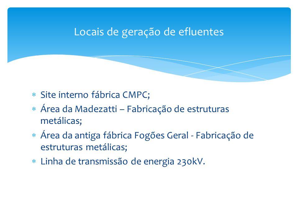  Site interno fábrica CMPC;  Área da Madezatti – Fabricação de estruturas metálicas;  Área da antiga fábrica Fogões Geral - Fabricação de estrutura