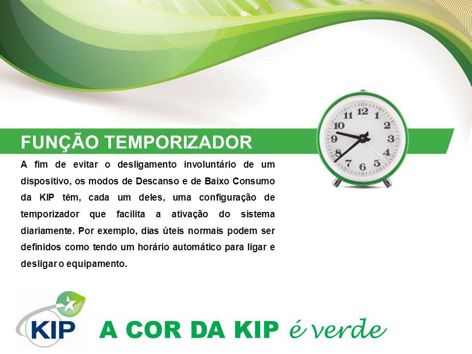 A COR DA KIP é verde FUNÇÃO TEMPORIZADOR A fim de evitar o desligamento involuntário de um dispositivo, os modos de Descanso e de Baixo Consumo da KIP têm, cada um deles, uma configuração de temporizador que facilita a ativação do sistema diariamente.