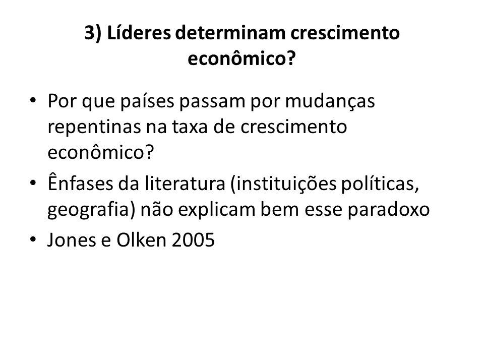 3) Líderes determinam crescimento econômico? • Por que países passam por mudanças repentinas na taxa de crescimento econômico? • Ênfases da literatura