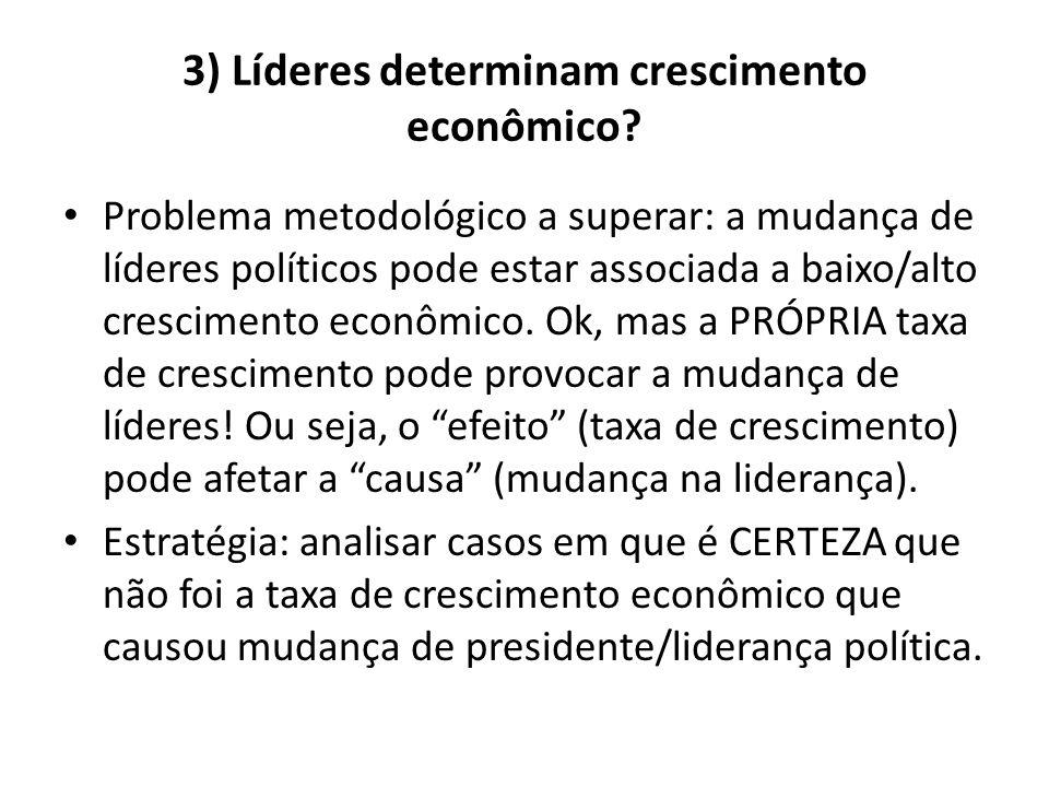 3) Líderes determinam crescimento econômico? • Problema metodológico a superar: a mudança de líderes políticos pode estar associada a baixo/alto cresc