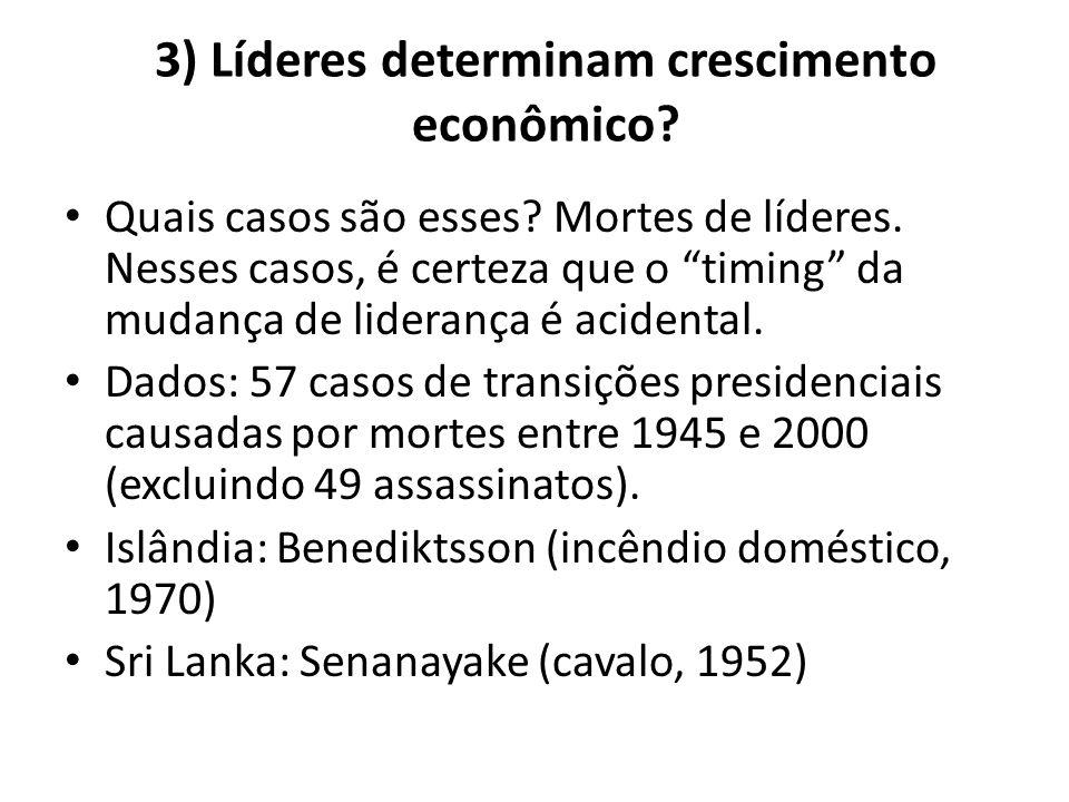 """3) Líderes determinam crescimento econômico? • Quais casos são esses? Mortes de líderes. Nesses casos, é certeza que o """"timing"""" da mudança de lideranç"""