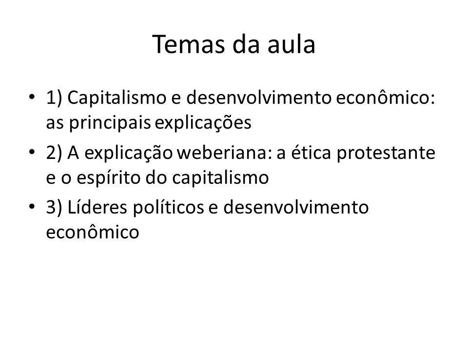 Temas da aula • 1) Capitalismo e desenvolvimento econômico: as principais explicações • 2) A explicação weberiana: a ética protestante e o espírito do