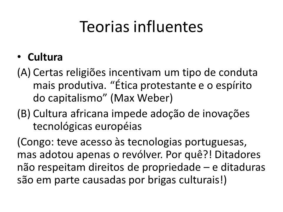 """Teorias influentes • Cultura (A)Certas religiões incentivam um tipo de conduta mais produtiva. """"Ética protestante e o espírito do capitalismo"""" (Max We"""