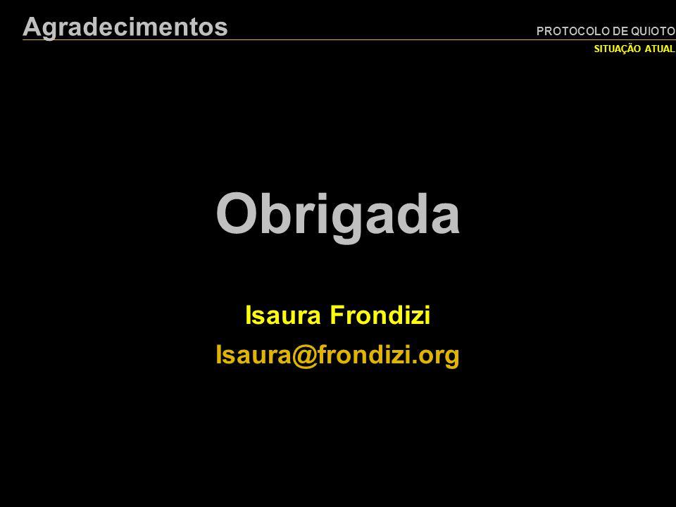 PROTOCOLO DE QUIOTO SITUAÇÃO ATUAL Agradecimentos Obrigada Isaura Frondizi Isaura@frondizi.org