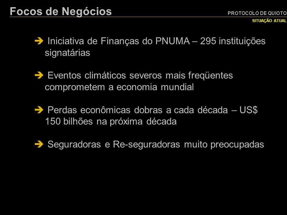 PROTOCOLO DE QUIOTO SITUAÇÃO ATUAL Focos de Negócios  Iniciativa de Finanças do PNUMA – 295 instituições signatárias  Eventos climáticos severos mai