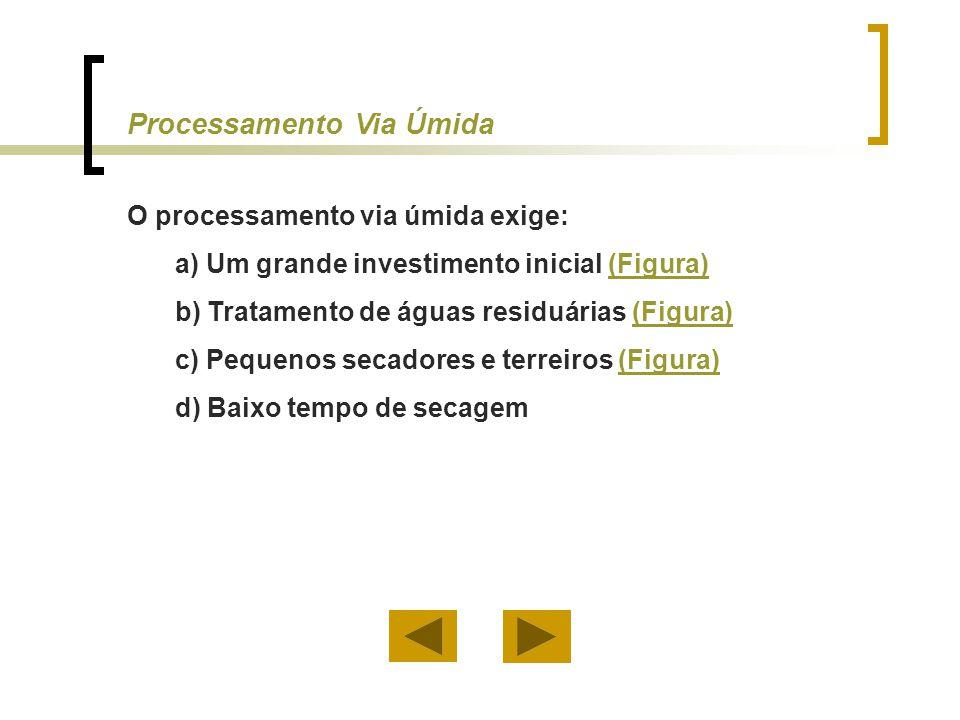 O processamento via úmida exige: a) Um grande investimento inicial (Figura)(Figura) b) Tratamento de águas residuárias (Figura)(Figura) c) Pequenos se
