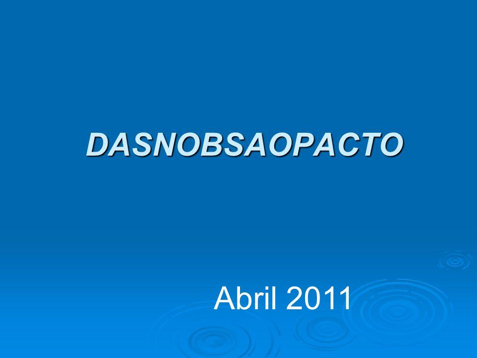 DAS NOBs... AO PACTO PELA SAÚDE Abril 2011 Abril 2011