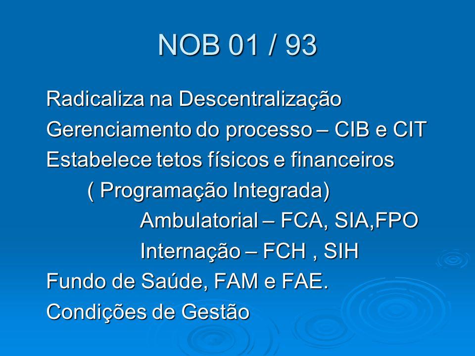 NOB 01 / 93 Radicaliza na Descentralização Radicaliza na Descentralização Gerenciamento do processo – CIB e CIT Gerenciamento do processo – CIB e CIT