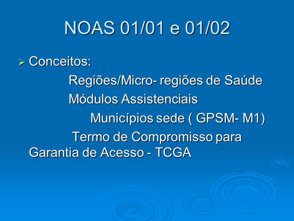 NOAS 01/01 e 01/02  Conceitos: Regiões/Micro- regiões de Saúde Regiões/Micro- regiões de Saúde Módulos Assistenciais Módulos Assistenciais Municípios