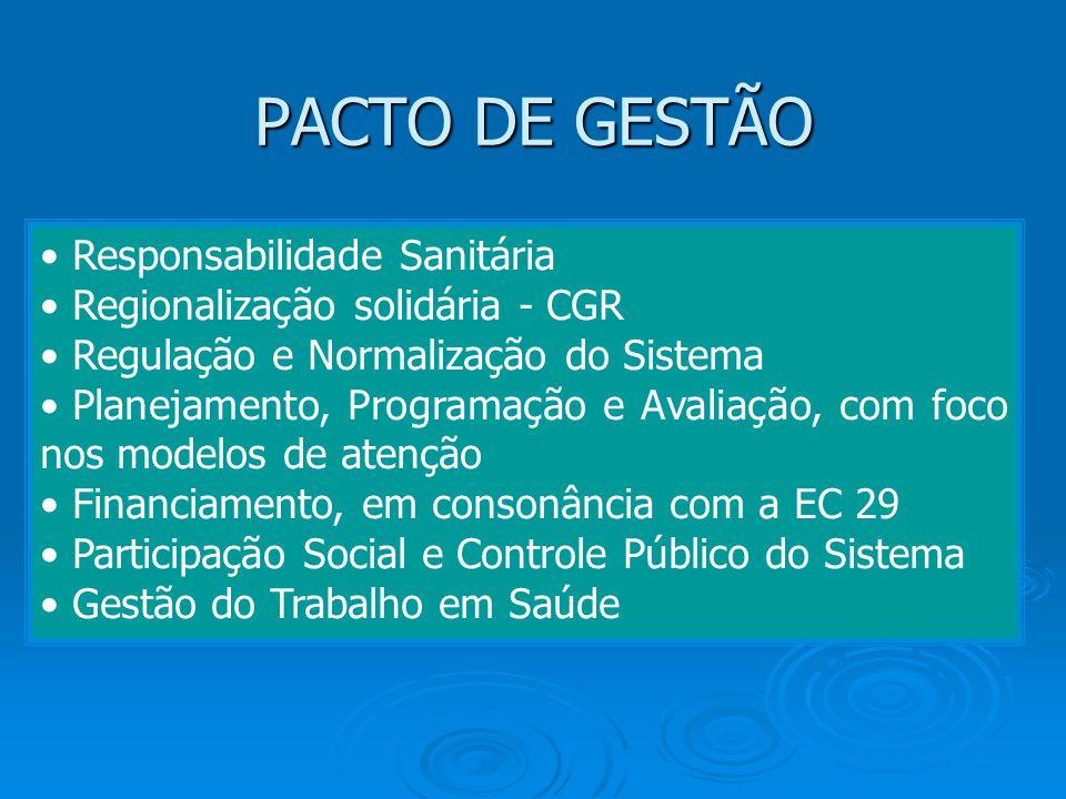 PACTO DE GESTÃO • Responsabilidade Sanitária • Regionalização solidária - CGR • Regulação e Normalização do Sistema • Planejamento, Programação e Aval
