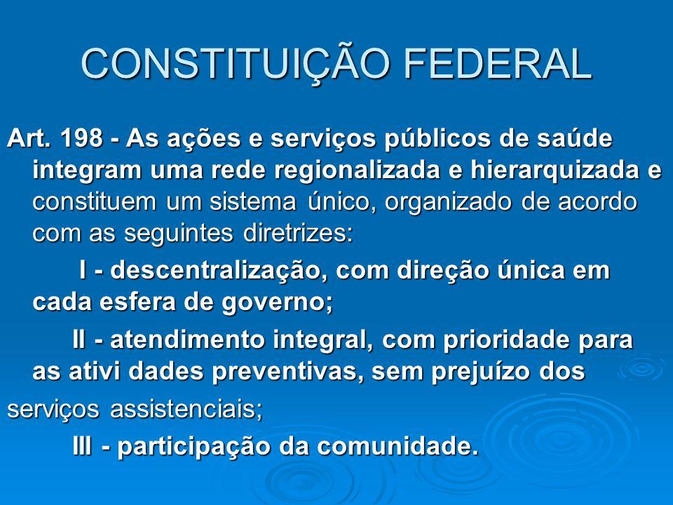 CONSTITUIÇÃO FEDERAL Art. 198 - As ações e serviços públicos de saúde integram uma rede regionalizada e hierarquizada e constituem um sistema único, o