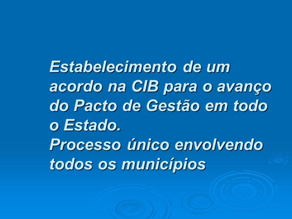 • Estabelecimento de um acordo na CIB para o avanço do Pacto de Gestão em todo o Estado. Processo único envolvendo todos os municípios
