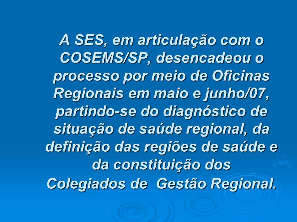 A SES, em articulação com o COSEMS/SP, desencadeou o processo por meio de Oficinas Regionais em maio e junho/07, partindo-se do diagnóstico de situaçã