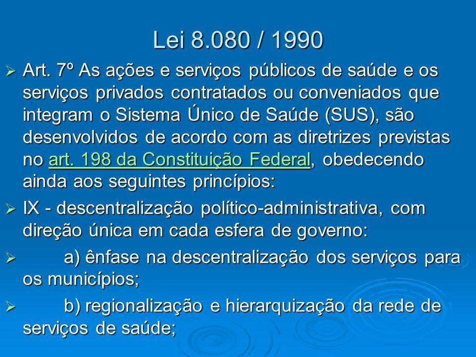 Lei 8.080 / 1990  Art. 7º As ações e serviços públicos de saúde e os serviços privados contratados ou conveniados que integram o Sistema Único de Saú