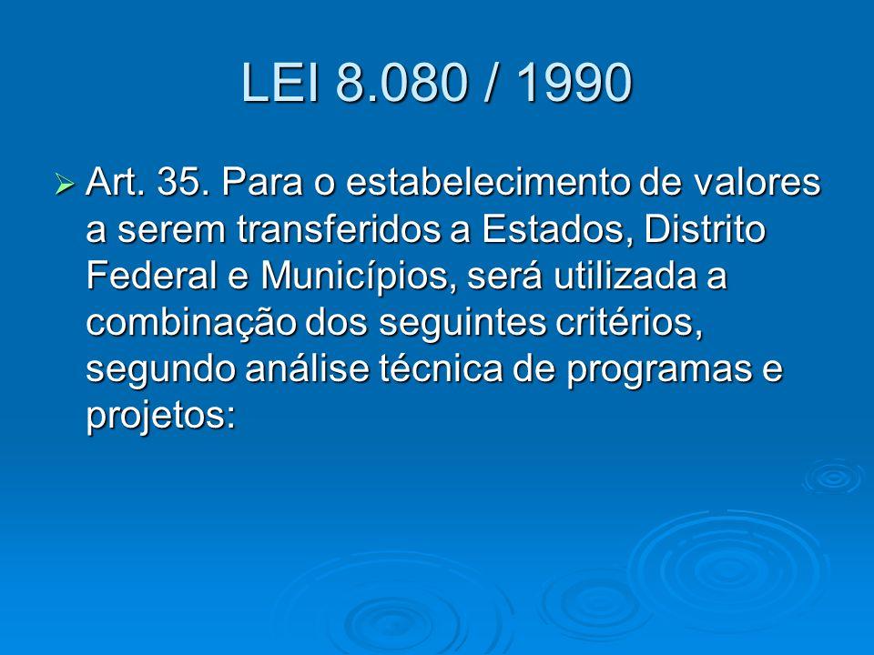 LEI 8.080 / 1990  Art. 35. Para o estabelecimento de valores a serem transferidos a Estados, Distrito Federal e Municípios, será utilizada a combinaç