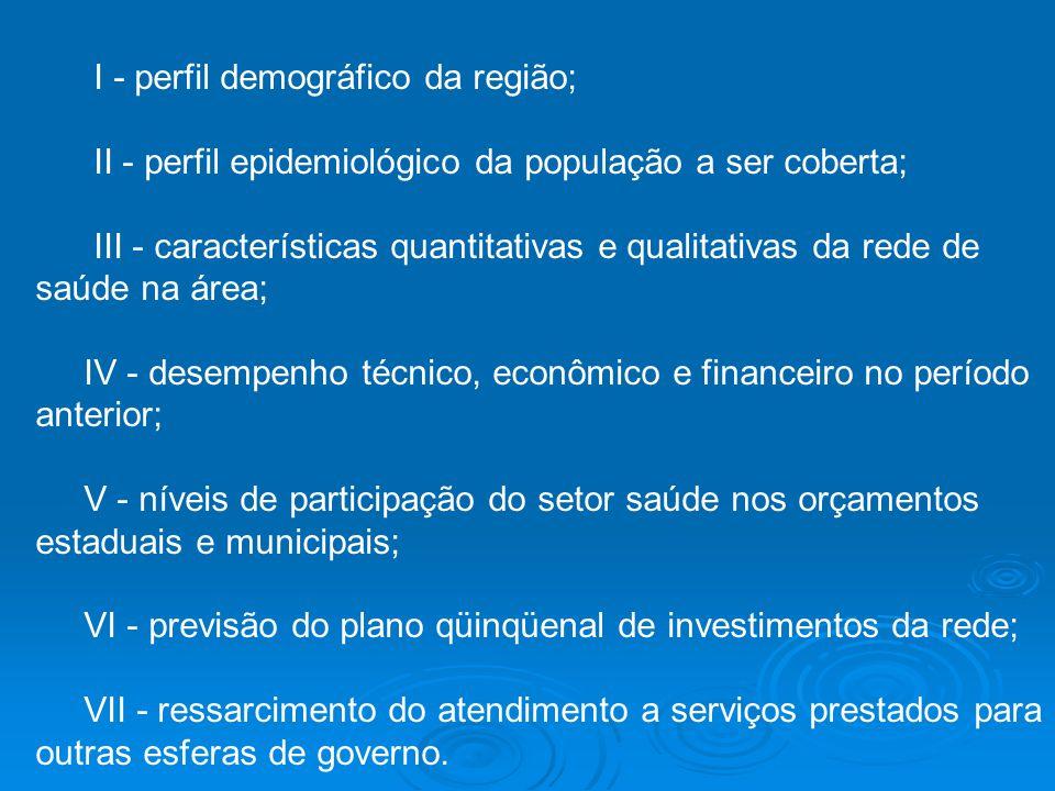 I - perfil demográfico da região; II - perfil epidemiológico da população a ser coberta; III - características quantitativas e qualitativas da rede de