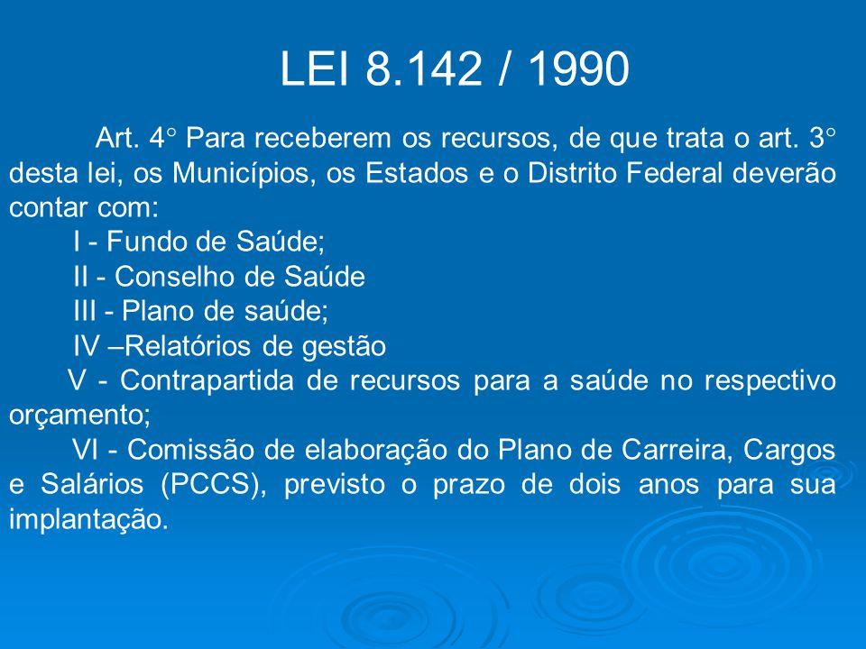 LEI 8.142 / 1990 Art. 4° Para receberem os recursos, de que trata o art. 3° desta lei, os Municípios, os Estados e o Distrito Federal deverão contar c