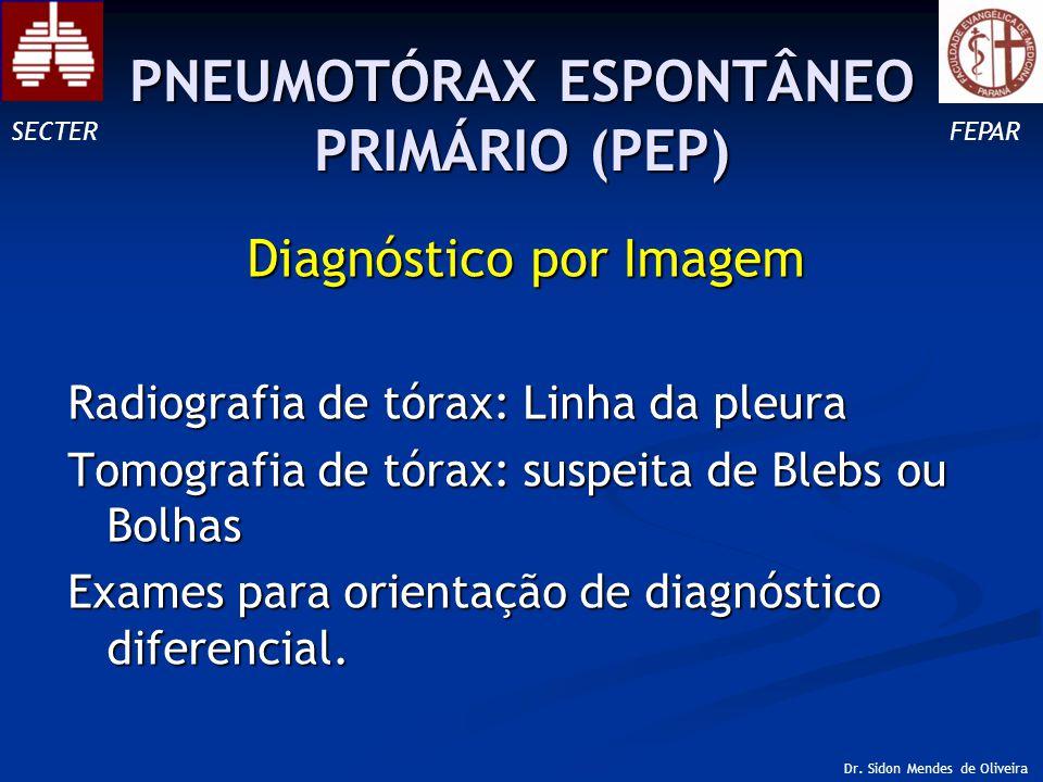 Diagnóstico por Imagem Radiografia de tórax: Linha da pleura Tomografia de tórax: suspeita de Blebs ou Bolhas Exames para orientação de diagnóstico diferencial.