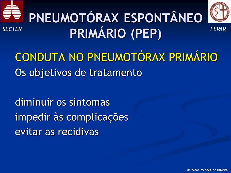 CONDUTA NO PNEUMOTÓRAX PRIMÁRIO Os objetivos de tratamento diminuir os sintomas impedir às complicações evitar as recidivas SECTERFEPAR Dr.