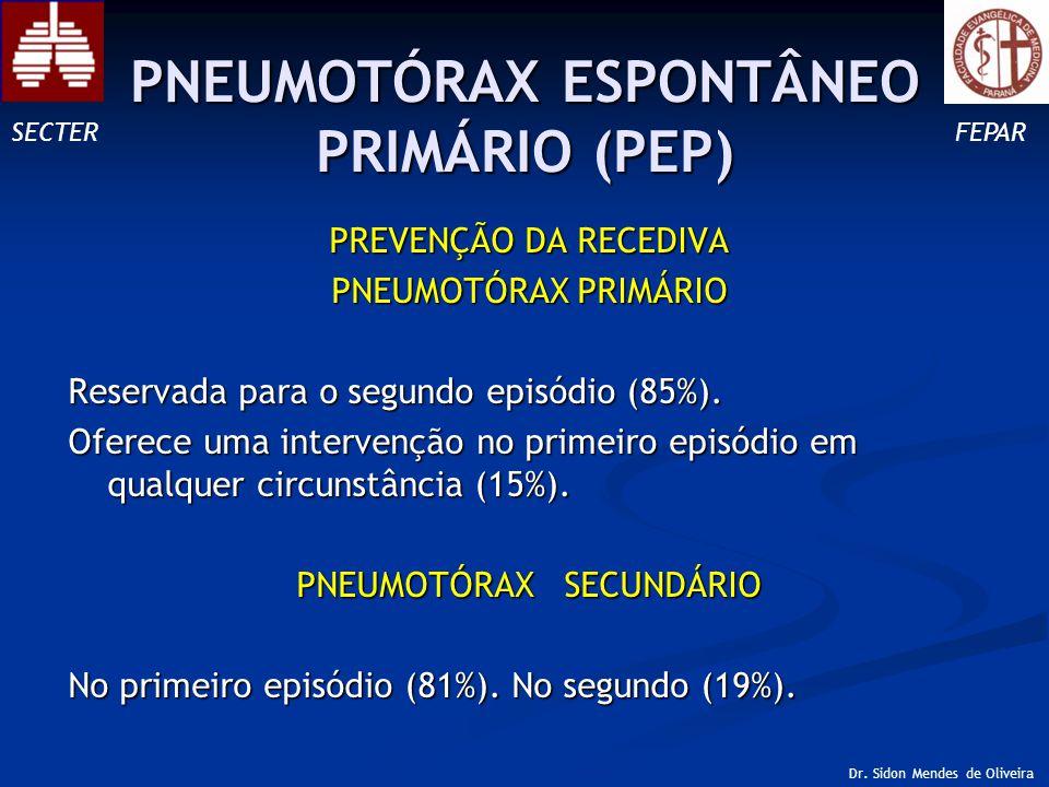 PREVENÇÃO DA RECEDIVA PNEUMOTÓRAX PRIMÁRIO Reservada para o segundo episódio (85%).