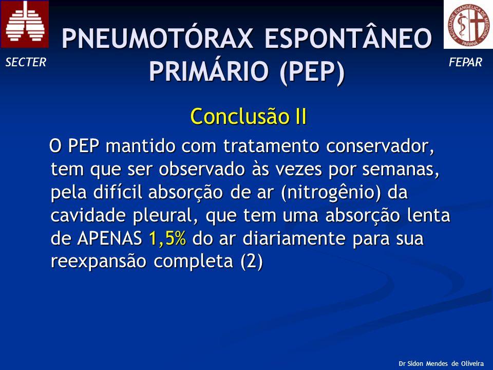 Conclusão II O PEP mantido com tratamento conservador, tem que ser observado às vezes por semanas, pela difícil absorção de ar (nitrogênio) da cavidade pleural, que tem uma absorção lenta de APENAS 1,5% do ar diariamente para sua reexpansão completa (2) O PEP mantido com tratamento conservador, tem que ser observado às vezes por semanas, pela difícil absorção de ar (nitrogênio) da cavidade pleural, que tem uma absorção lenta de APENAS 1,5% do ar diariamente para sua reexpansão completa (2) SECTERFEPAR Dr Sidon Mendes de Oliveira PNEUMOTÓRAX ESPONTÂNEO PRIMÁRIO (PEP)