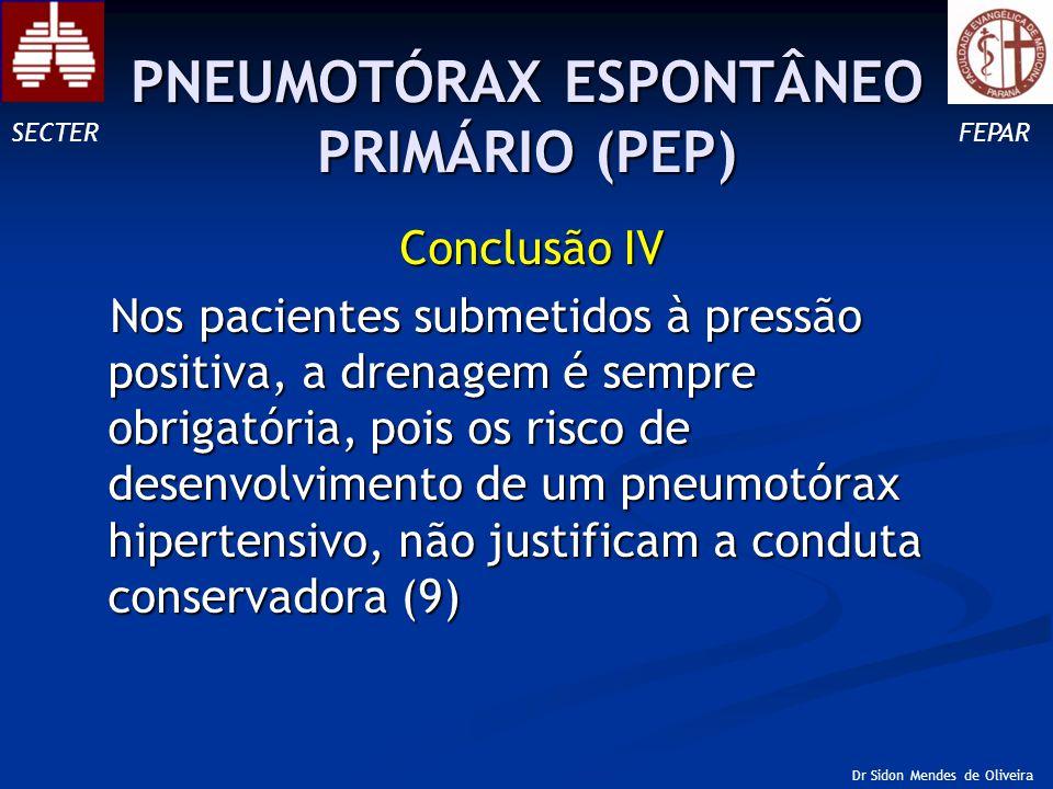 Conclusão IV Nos pacientes submetidos à pressão positiva, a drenagem é sempre obrigatória, pois os risco de desenvolvimento de um pneumotórax hipertensivo, não justificam a conduta conservadora (9) Nos pacientes submetidos à pressão positiva, a drenagem é sempre obrigatória, pois os risco de desenvolvimento de um pneumotórax hipertensivo, não justificam a conduta conservadora (9) SECTERFEPAR Dr Sidon Mendes de Oliveira PNEUMOTÓRAX ESPONTÂNEO PRIMÁRIO (PEP)