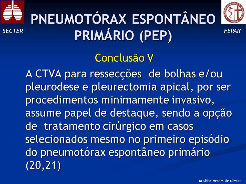 Conclusão V A CTVA para ressecções de bolhas e/ou pleurodese e pleurectomia apical, por ser procedimentos minimamente invasivo, assume papel de destaque, sendo a opção de tratamento cirúrgico em casos selecionados mesmo no primeiro episódio do pneumotórax espontâneo primário (20,21) A CTVA para ressecções de bolhas e/ou pleurodese e pleurectomia apical, por ser procedimentos minimamente invasivo, assume papel de destaque, sendo a opção de tratamento cirúrgico em casos selecionados mesmo no primeiro episódio do pneumotórax espontâneo primário (20,21) SECTERFEPAR Dr Sidon Mendes de Oliveira PNEUMOTÓRAX ESPONTÂNEO PRIMÁRIO (PEP)