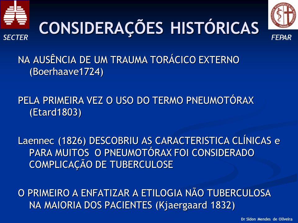 Conclusão III Aumento do pneumotórax para 30-40% do HT ou >3cm à dist, cúpula – ápice com qualquer sintoma aparente, são indicações de intervenção com indicação de toracostomia com drenagem fechada, sendo o tratamento de escolha (9) Aumento do pneumotórax para 30-40% do HT ou >3cm à dist, cúpula – ápice com qualquer sintoma aparente, são indicações de intervenção com indicação de toracostomia com drenagem fechada, sendo o tratamento de escolha (9) SECTERFEPAR Dr Sidon Mendes de Oliveira PNEUMOTÓRAX ESPONTÂNEO PRIMÁRIO (PEP)