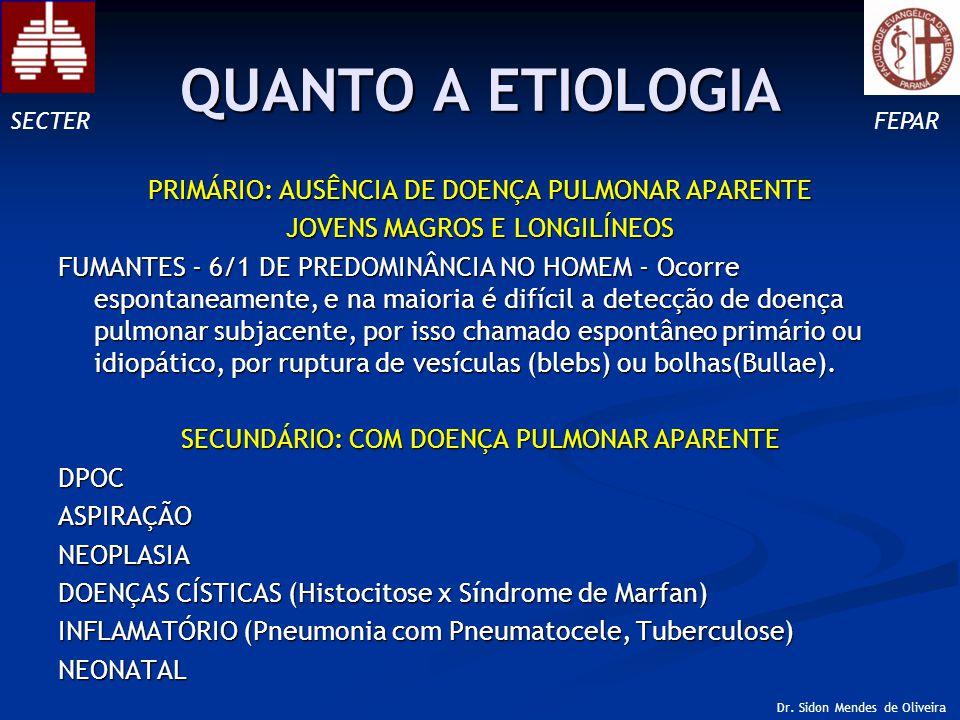 QUANTO A ETIOLOGIA PRIMÁRIO: AUSÊNCIA DE DOENÇA PULMONAR APARENTE JOVENS MAGROS E LONGILÍNEOS FUMANTES - 6/1 DE PREDOMINÂNCIA NO HOMEM - Ocorre espontaneamente, e na maioria é difícil a detecção de doença pulmonar subjacente, por isso chamado espontâneo primário ou idiopático, por ruptura de vesículas (blebs) ou bolhas(Bullae).