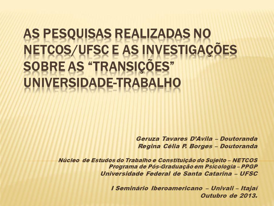 Geruza Tavares D'Avila – Doutoranda Regina Célia P. Borges – Doutoranda Núcleo de Estudos do Trabalho e Constituição do Sujeito – NETCOS Programa de P